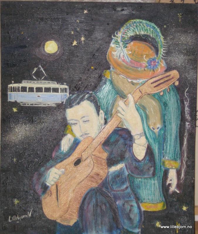 Lillebjorn Nilsen Django et La Tante Oil on canvas