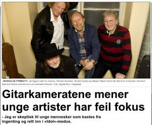 Gitarkameratene mener unge artister har feil fokus Dagbladet