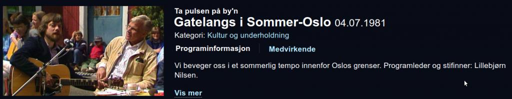 Gatelangs i Sommer-Oslo 1981 - NRK TV