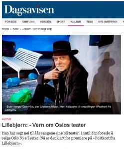Lillebjørn: - Vern om Oslos teater